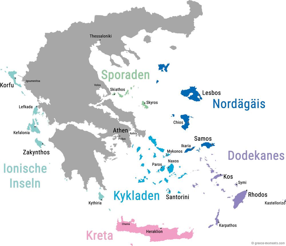 Griechische Inseln Ubersicht Karte Der Inseln Griechenlands