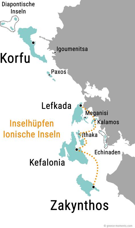 Inselhopping Ionische Inseln Griechenland Karte Route
