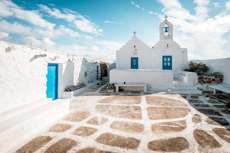 Kykladen Weiß Blaue Kirche Griechenland