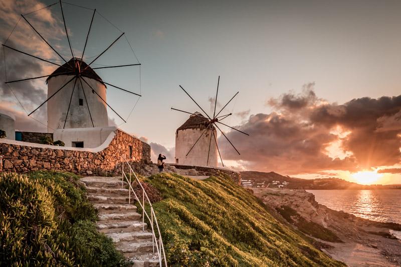 mykonos windmühlen sonnenuntergang