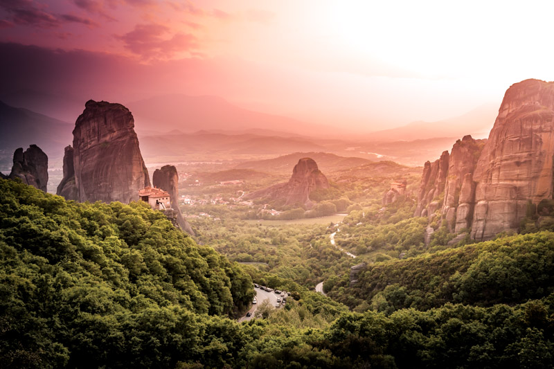 meteora sunset monastery greece