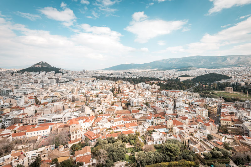Athen Panorama Lykabettos Stadtberg
