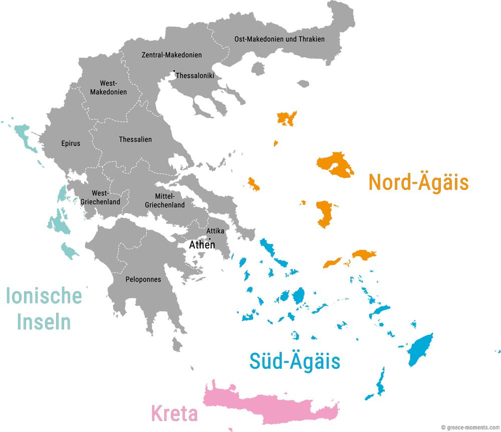 Griechenland Regionen Karte Übersicht Inseln Festland
