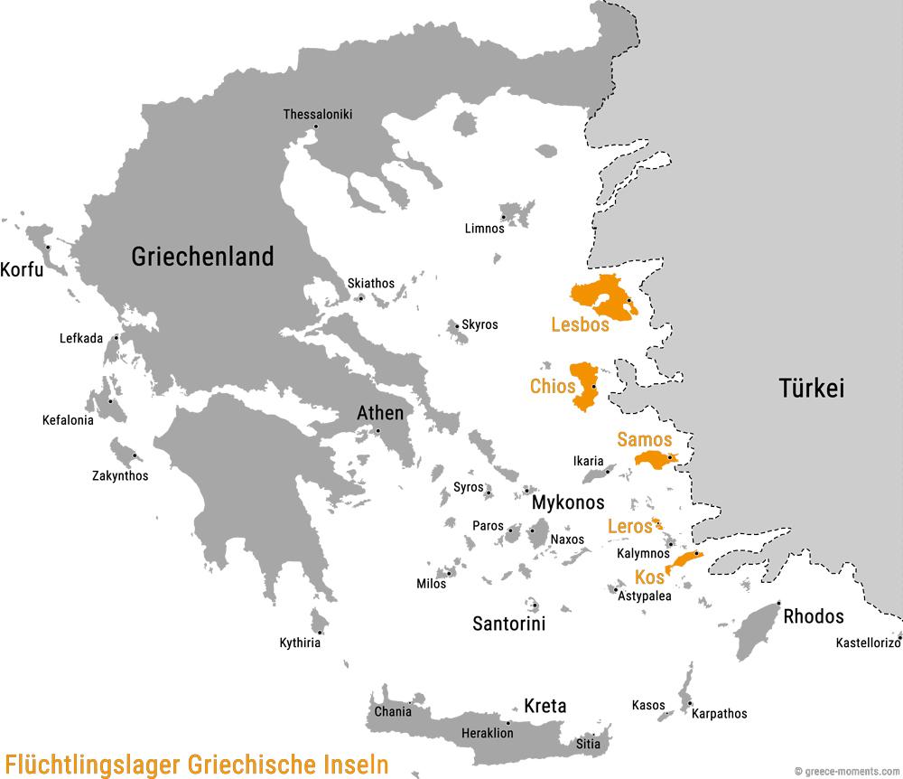 Griechische Inseln Flüchtlinge Karte Übersicht Flüchtlingslager