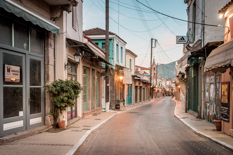Lesbos keine Flüchtlinge Mytilini Stadt Leer