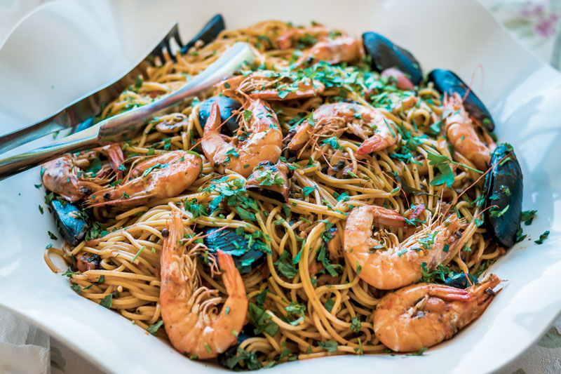 Shrimps Nudeln Garnelen Speisekarte Griechenland
