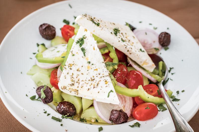 Typisch Griechische Küche Salat Feta Käse Gesund