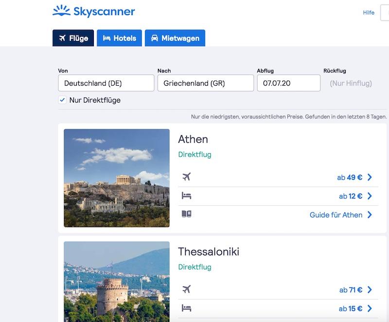 Flüge nach Griechenland Skyscanner Billigflüge