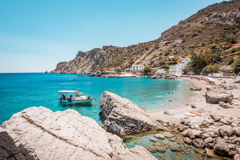 Karpathos Strände Agios Nikolaos Bucht Urlaub