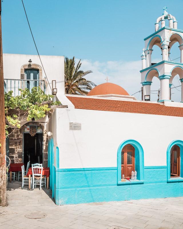 Apyria Nisyros Restaurant Emporios Blaue Kirche