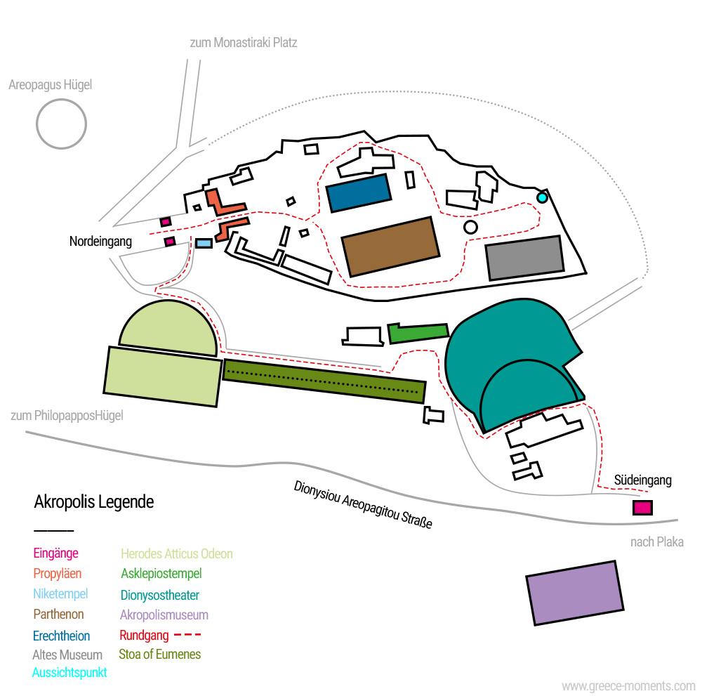 Akropolis Karte Rundgang Sehenswürdigkeiten