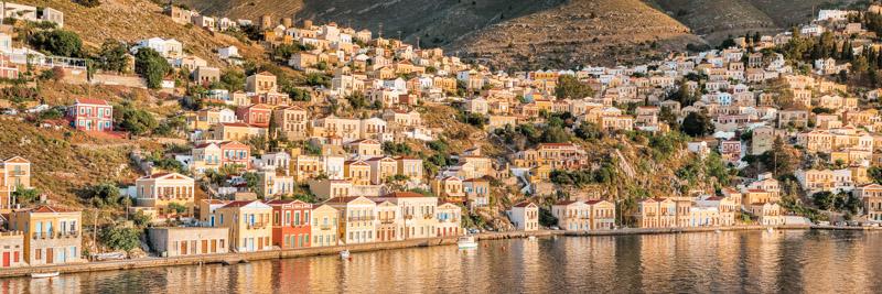 Dodekanes Insel Symi Gialos Sonnenuntergang