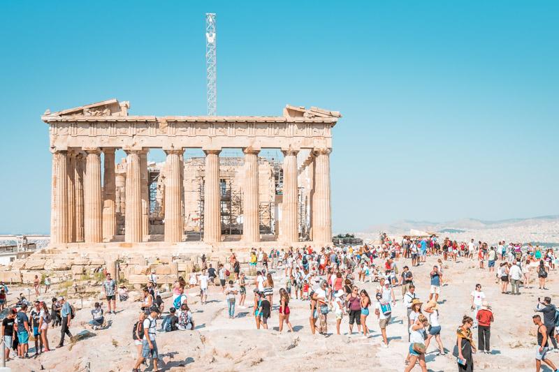 Parthenon Tempel Touristen Massen Griechenland