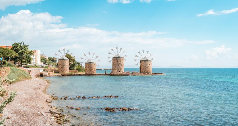 Windmühlen Griechenland Insel Chios Erfahrung
