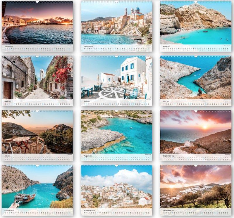 Wandkalender Griechenland zum Ausdrucken PDF Kalender
