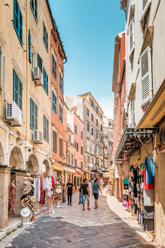 Korfu Stadt Einkaufen Shops Empfehlung