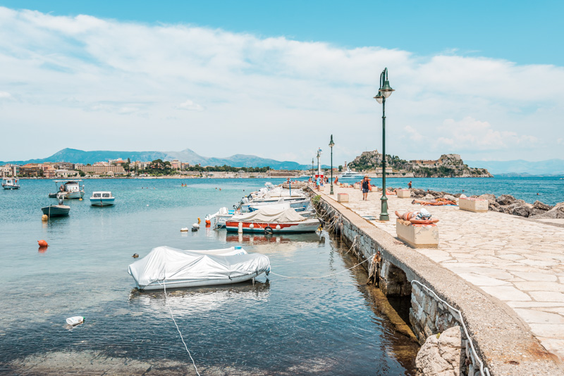 Korfu Stadt Strand Yacht Hafen Anemomilos