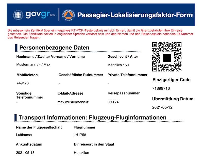 PLF Formular Griechenland QR Code Einreise Anleitung