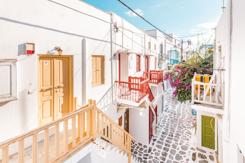 Mykonos Urlaub Weisse Gassen Griechenland