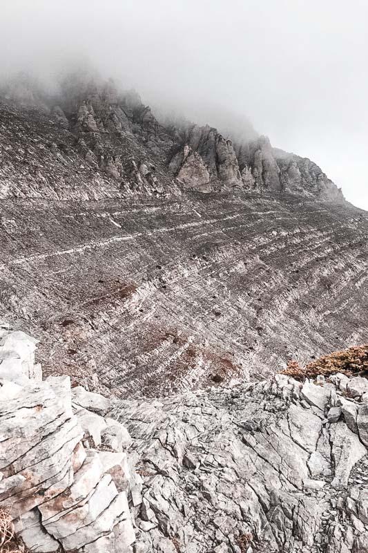 Olymp Plateau der Musen Weg unter Gipfel